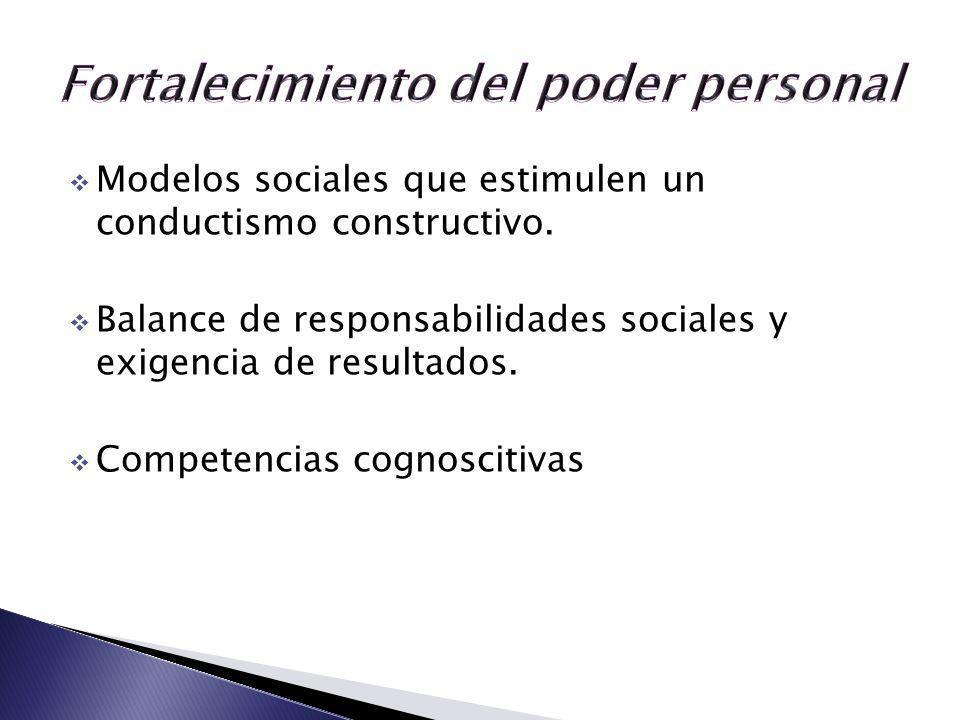 Modelos sociales que estimulen un conductismo constructivo. Balance de responsabilidades sociales y exigencia de resultados. Competencias cognoscitiva