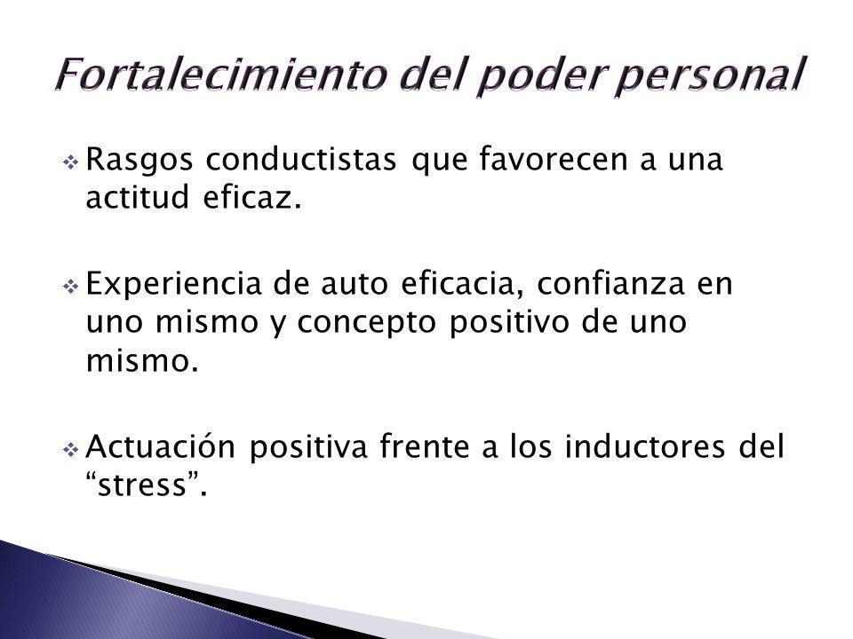 Rasgos conductistas que favorecen a una actitud eficaz. Experiencia de auto eficacia, confianza en uno mismo y concepto positivo de uno mismo. Actuaci