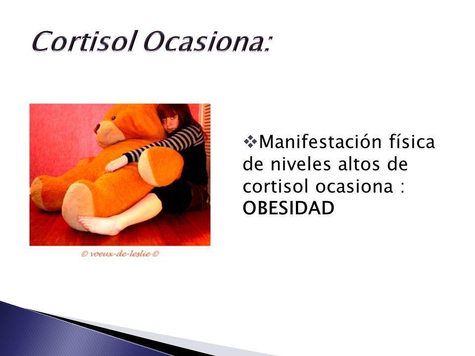 Manifestación física de niveles altos de cortisol ocasiona : OBESIDAD