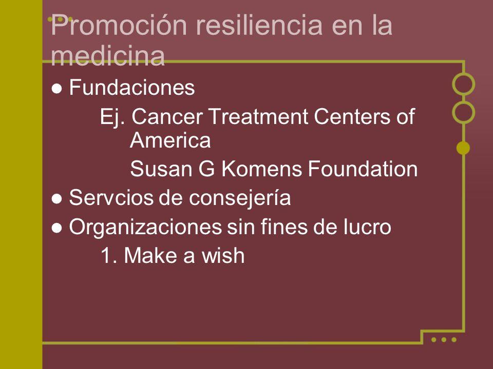 Promoción resiliencia en la medicina Fundaciones Ej. Cancer Treatment Centers of America Susan G Komens Foundation Servcios de consejería Organizacion