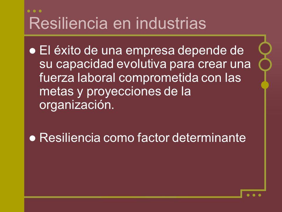Resiliencia en industrias El éxito de una empresa depende de su capacidad evolutiva para crear una fuerza laboral comprometida con las metas y proyecc