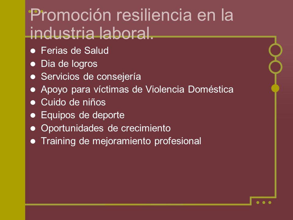 Promoción resiliencia en la industria laboral. Ferias de Salud Dia de logros Servicios de consejería Apoyo para víctimas de Violencia Doméstica Cuido