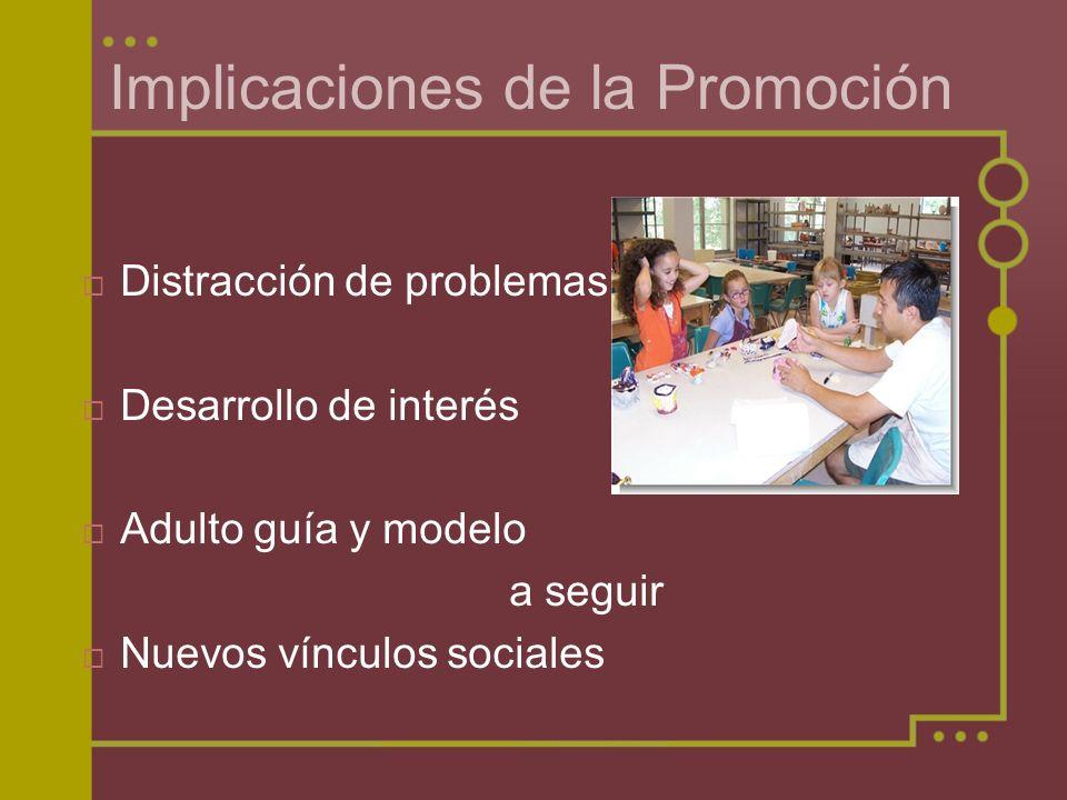 Implicaciones de la Promoción Distracción de problemas Desarrollo de interés Adulto guía y modelo a seguir Nuevos vínculos sociales
