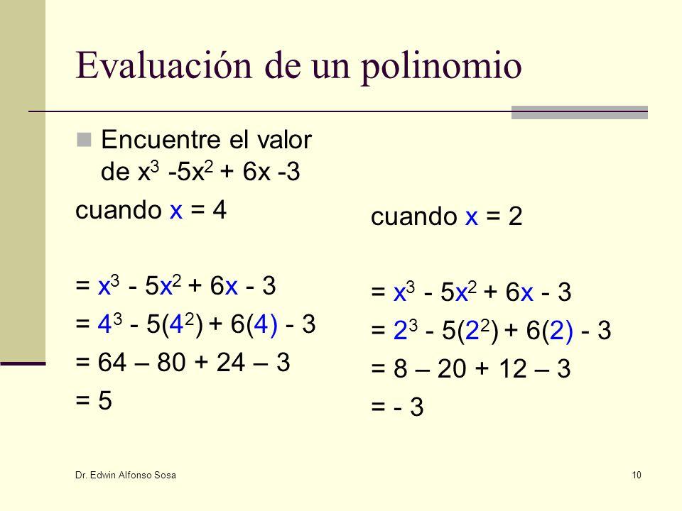 Dr. Edwin Alfonso Sosa 10 Evaluación de un polinomio Encuentre el valor de x 3 -5x 2 + 6x -3 cuando x = 4 = x 3 - 5x 2 + 6x - 3 = 4 3 - 5(4 2 ) + 6(4)