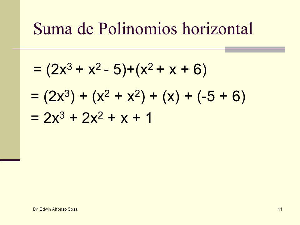 Dr. Edwin Alfonso Sosa 11 Suma de Polinomios horizontal = (2x 3 ) + (x 2 + x 2 ) + (x) + (-5 + 6) = (2x 3 + x 2 - 5)+(x 2 + x + 6) = 2x 3 + 2x 2 + x +
