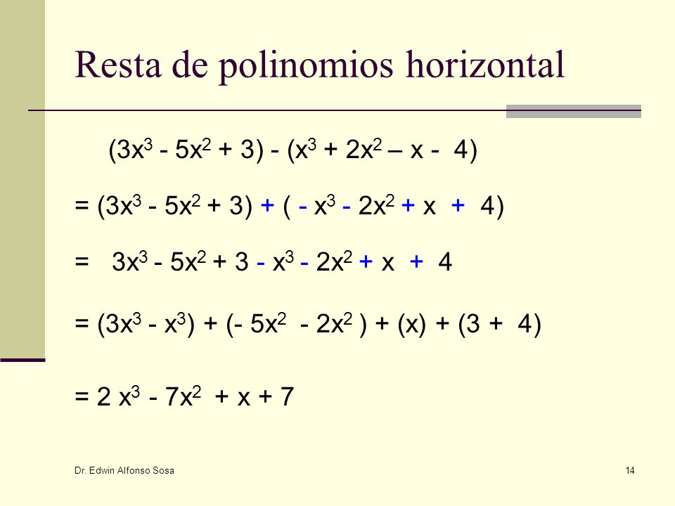 Dr. Edwin Alfonso Sosa 14 Resta de polinomios horizontal (3x 3 - 5x 2 + 3) - (x 3 + 2x 2 – x - 4) = (3x 3 - 5x 2 + 3) + ( - x 3 - 2x 2 + x + 4) = 3x 3