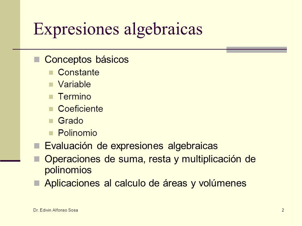 Dr. Edwin Alfonso Sosa 2 Expresiones algebraicas Conceptos básicos Constante Variable Termino Coeficiente Grado Polinomio Evaluación de expresiones al