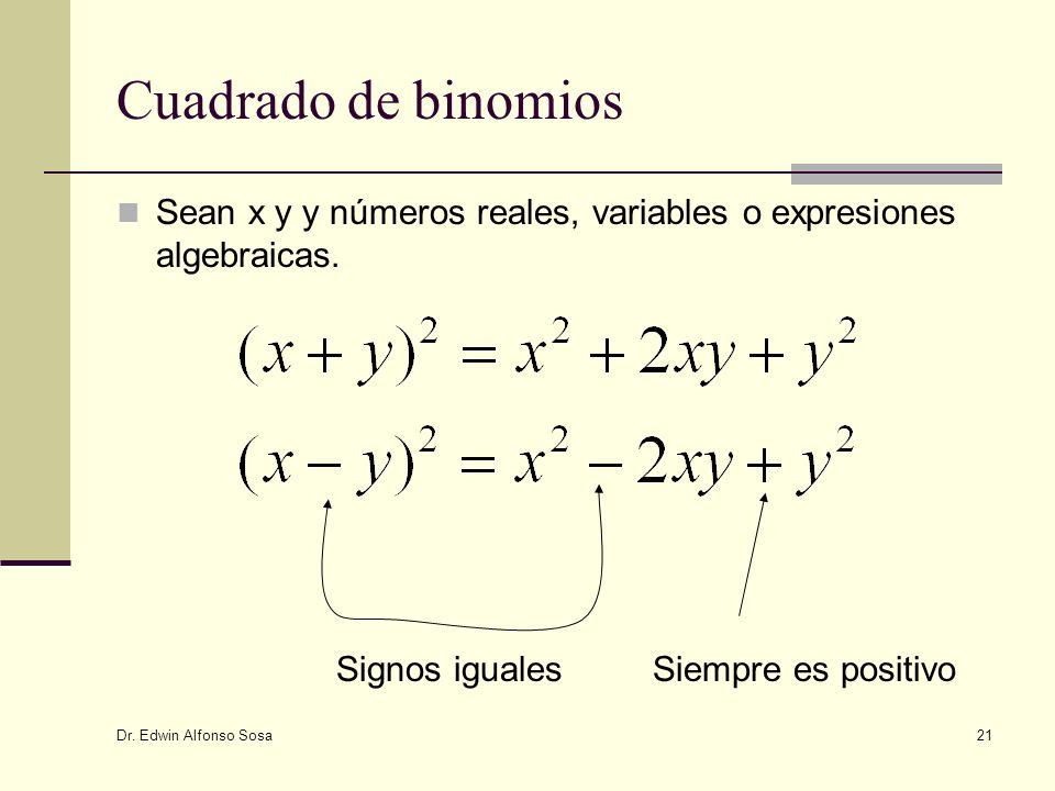 Dr. Edwin Alfonso Sosa 21 Cuadrado de binomios Sean x y y números reales, variables o expresiones algebraicas. Siempre es positivoSignos iguales