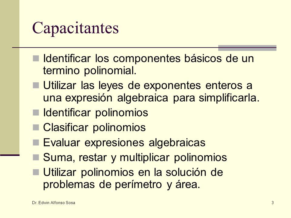 Dr. Edwin Alfonso Sosa 3 Capacitantes Identificar los componentes básicos de un termino polinomial. Utilizar las leyes de exponentes enteros a una exp