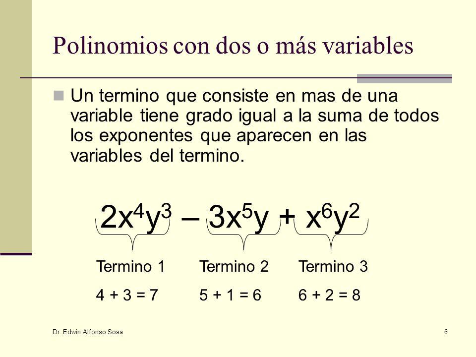 Dr. Edwin Alfonso Sosa 6 Polinomios con dos o más variables Un termino que consiste en mas de una variable tiene grado igual a la suma de todos los ex