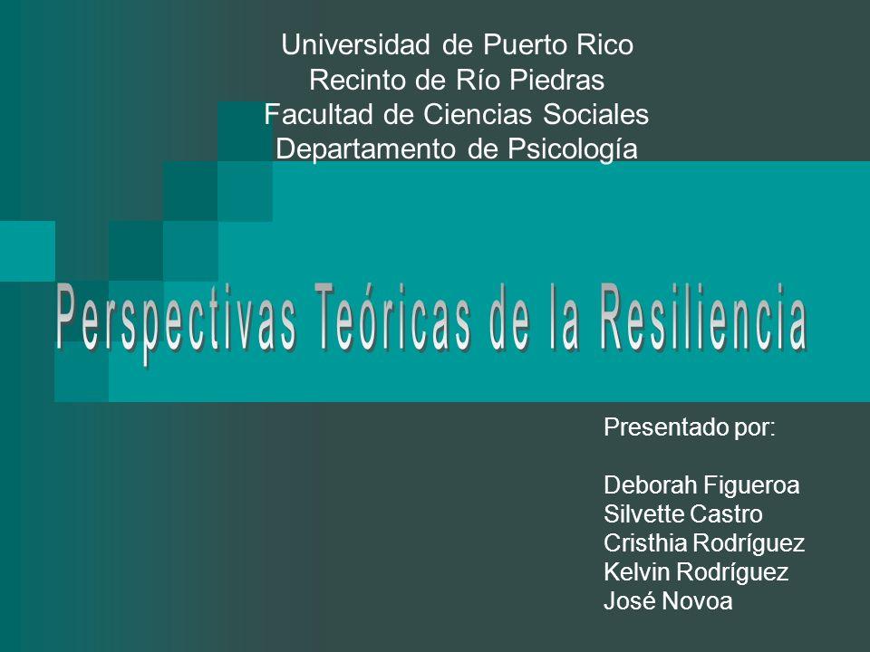 Objetivos Definir el concepto de resiliencia Desarrollo y evolución de la resiliencia Enfoques de la resiliencia Individuo Resiliente Educar la resiliencia