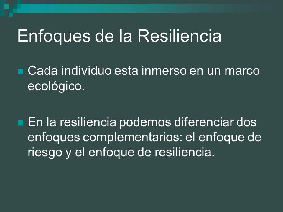 Enfoques de la Resiliencia Cada individuo esta inmerso en un marco ecológico. En la resiliencia podemos diferenciar dos enfoques complementarios: el e