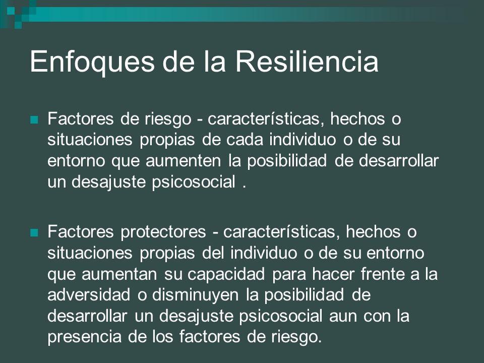Enfoques de la Resiliencia Factores de riesgo - características, hechos o situaciones propias de cada individuo o de su entorno que aumenten la posibi