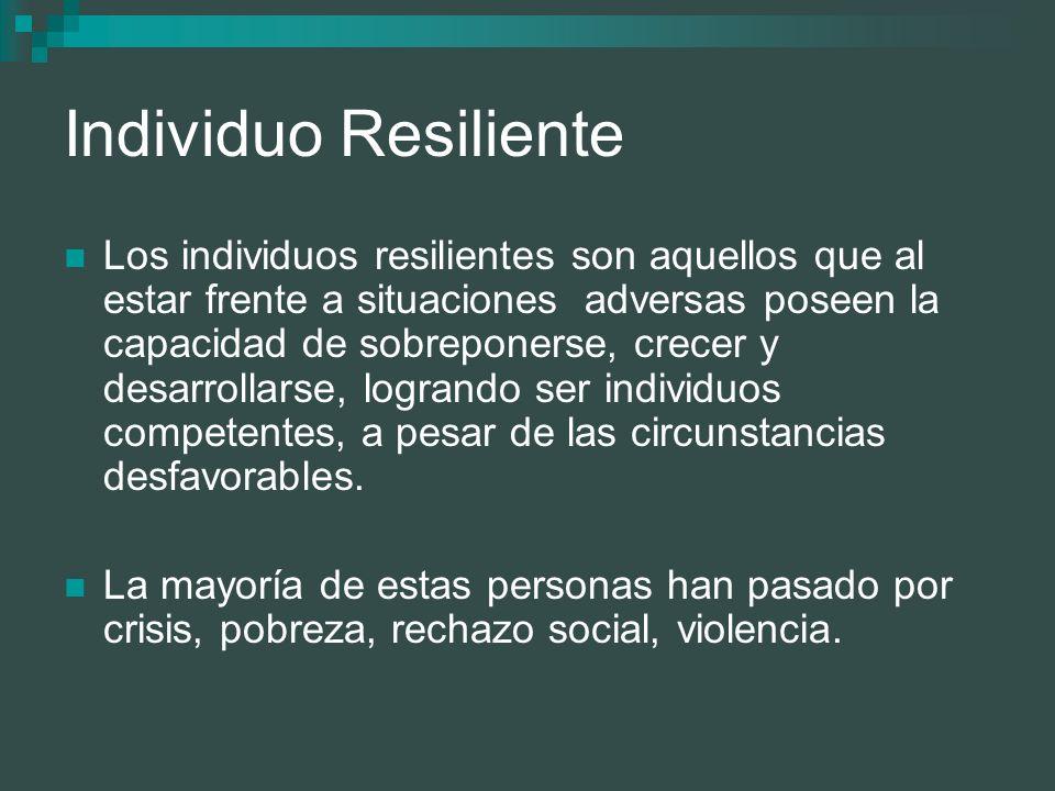 Individuo Resiliente Los individuos resilientes son aquellos que al estar frente a situaciones adversas poseen la capacidad de sobreponerse, crecer y