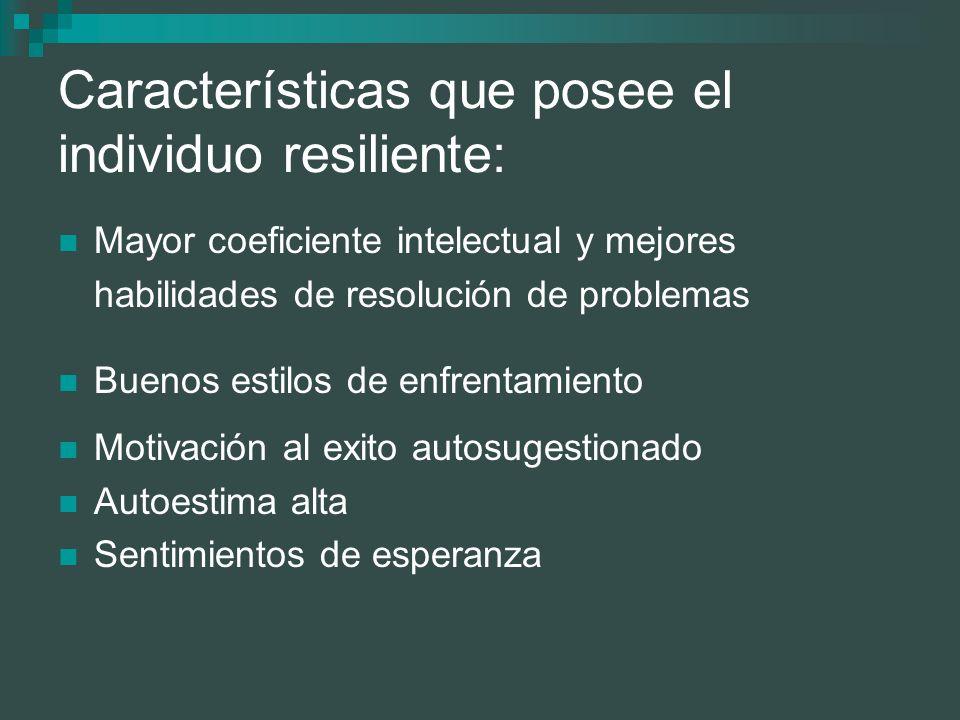 Características que posee el individuo resiliente: Mayor coeficiente intelectual y mejores habilidades de resolución de problemas Buenos estilos de en