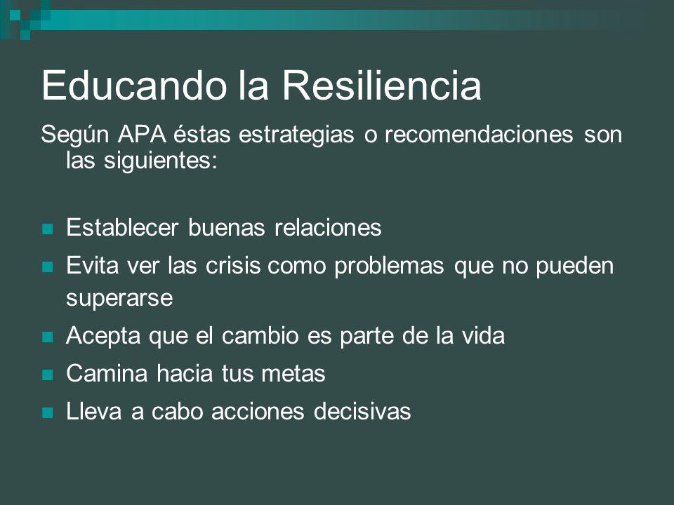 Educando la Resiliencia Según APA éstas estrategias o recomendaciones son las siguientes: Establecer buenas relaciones Evita ver las crisis como probl