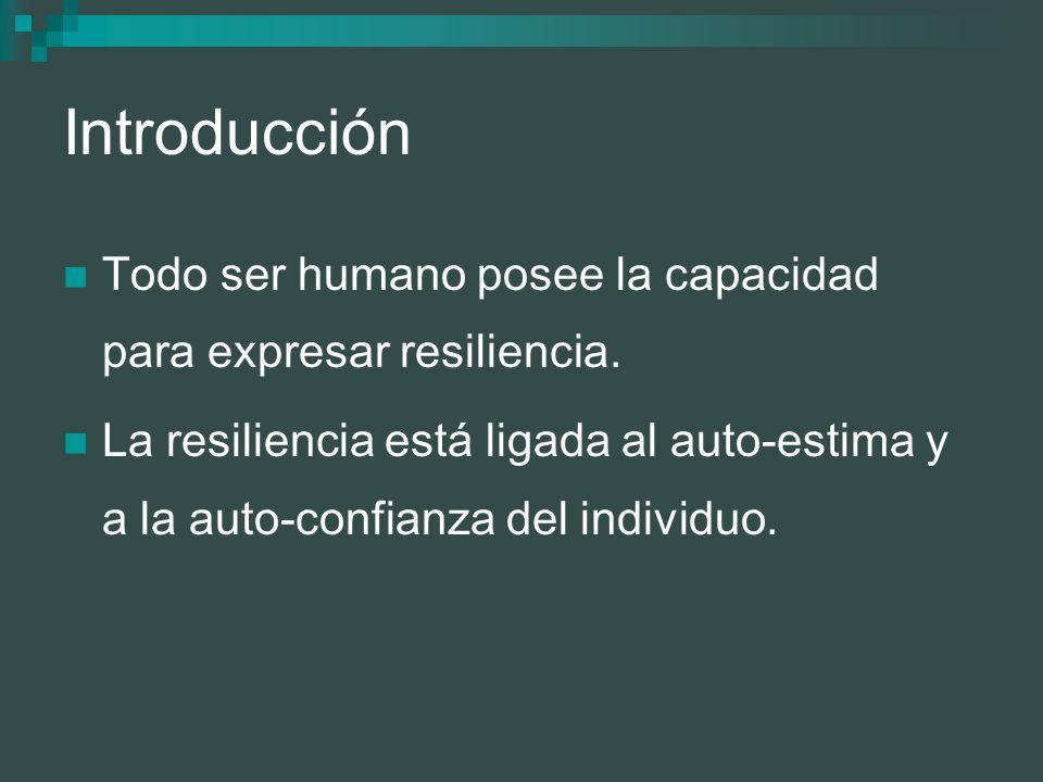 Introducción Todo ser humano posee la capacidad para expresar resiliencia. La resiliencia está ligada al auto-estima y a la auto-confianza del individ