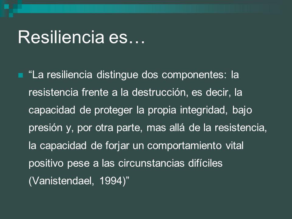 Resiliencia es… La resiliencia distingue dos componentes: la resistencia frente a la destrucción, es decir, la capacidad de proteger la propia integri