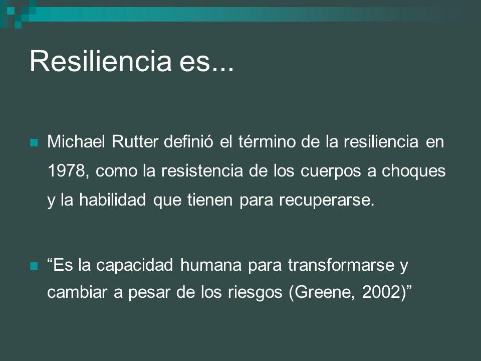 Resiliencia es... Michael Rutter definió el término de la resiliencia en 1978, como la resistencia de los cuerpos a choques y la habilidad que tienen
