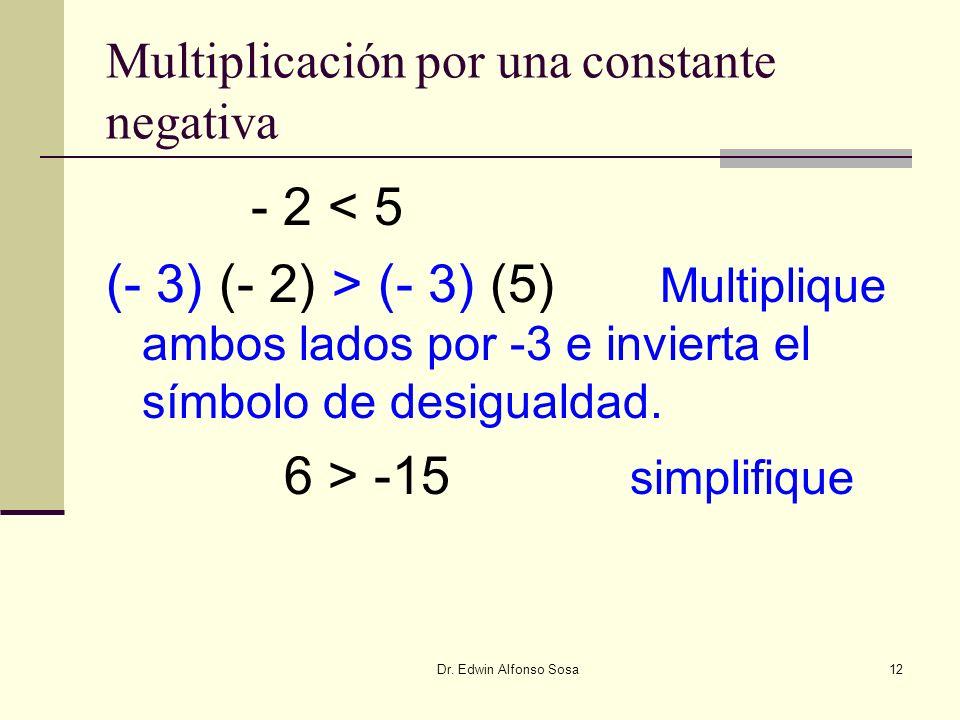Dr. Edwin Alfonso Sosa12 Multiplicación por una constante negativa - 2 < 5 (- 3) (- 2) > (- 3) (5) Multiplique ambos lados por -3 e invierta el símbol