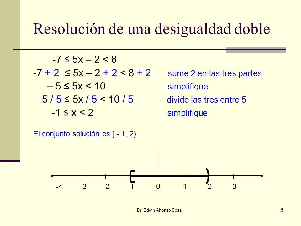 Dr. Edwin Alfonso Sosa15 Resolución de una desigualdad doble -7 5x – 2 < 8 -7 + 2 5x – 2 + 2 < 8 + 2 sume 2 en las tres partes – 5 5x < 10 simplifique