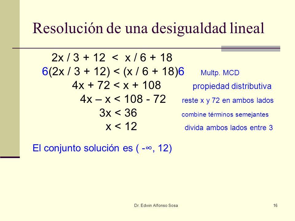 Dr. Edwin Alfonso Sosa16 Resolución de una desigualdad lineal 2x / 3 + 12 < x / 6 + 18 6(2x / 3 + 12) < (x / 6 + 18)6 Multp. MCD 4x + 72 < x + 108 pro
