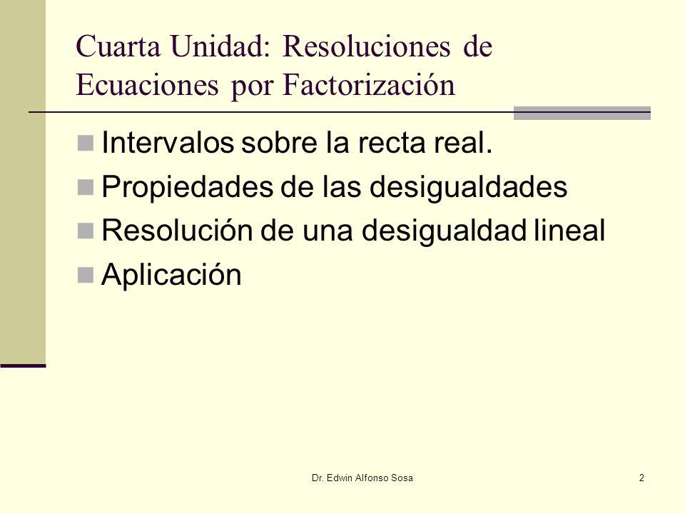 Dr. Edwin Alfonso Sosa2 Cuarta Unidad: Resoluciones de Ecuaciones por Factorización Intervalos sobre la recta real. Propiedades de las desigualdades R