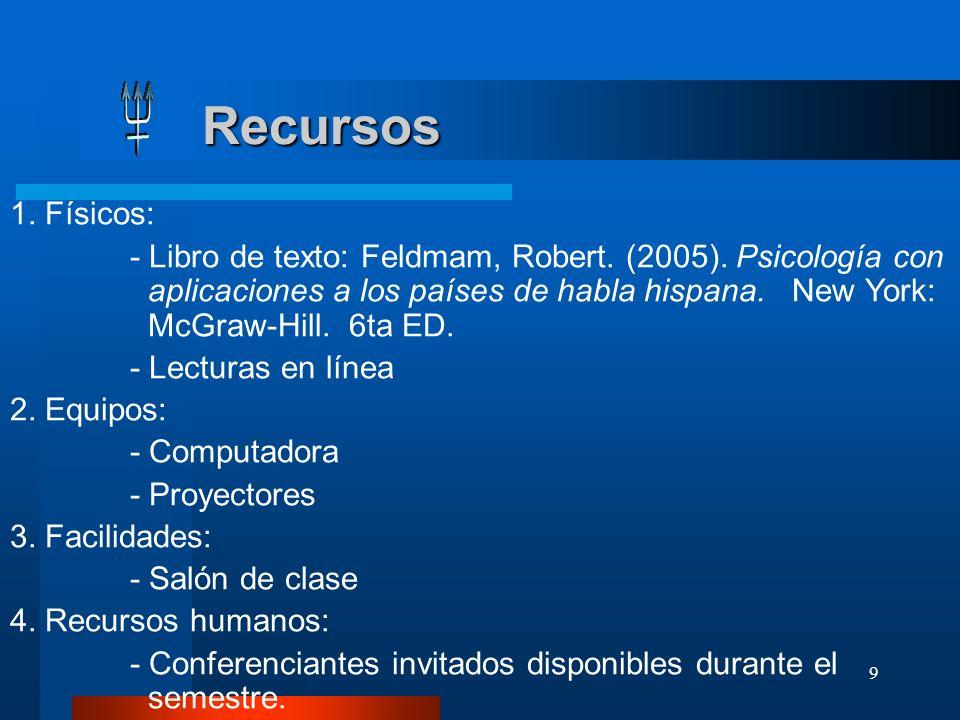 9 Recursos Recursos 1. Físicos: - Libro de texto: Feldmam, Robert. (2005). Psicología con aplicaciones a los países de habla hispana. New York: McGraw