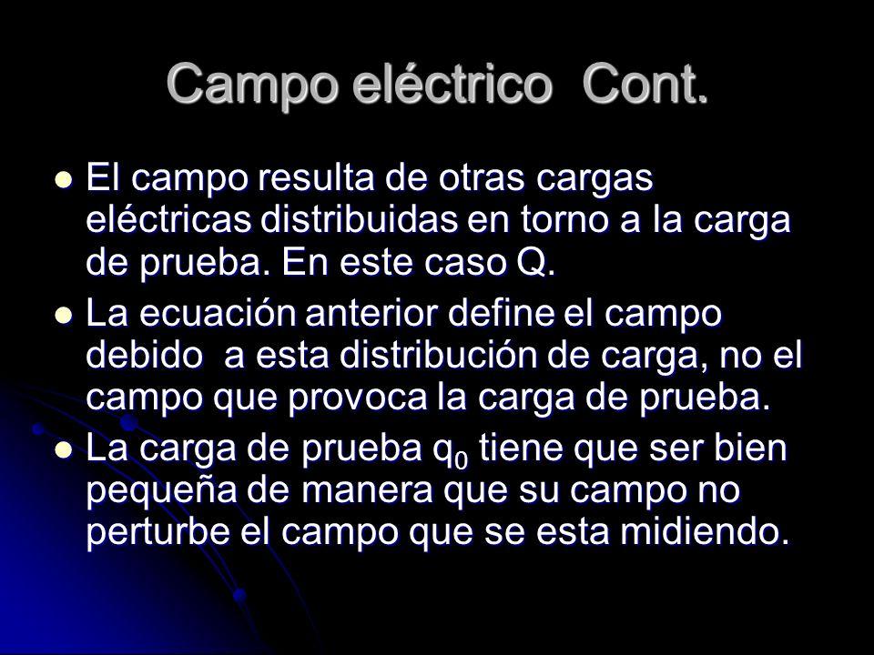 Campo eléctrico Cont. El campo resulta de otras cargas eléctricas distribuidas en torno a la carga de prueba. En este caso Q. El campo resulta de otra