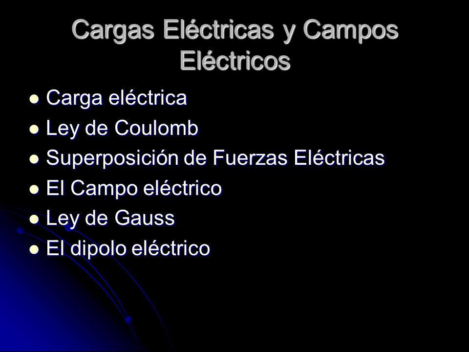 Cargas Eléctricas y Campos Eléctricos Carga eléctrica Carga eléctrica Ley de Coulomb Ley de Coulomb Superposición de Fuerzas Eléctricas Superposición