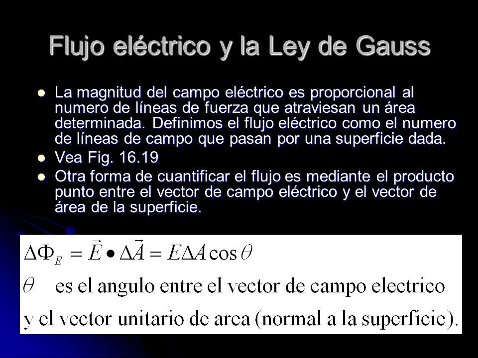 Flujo eléctrico y la Ley de Gauss La magnitud del campo eléctrico es proporcional al numero de líneas de fuerza que atraviesan un área determinada. De