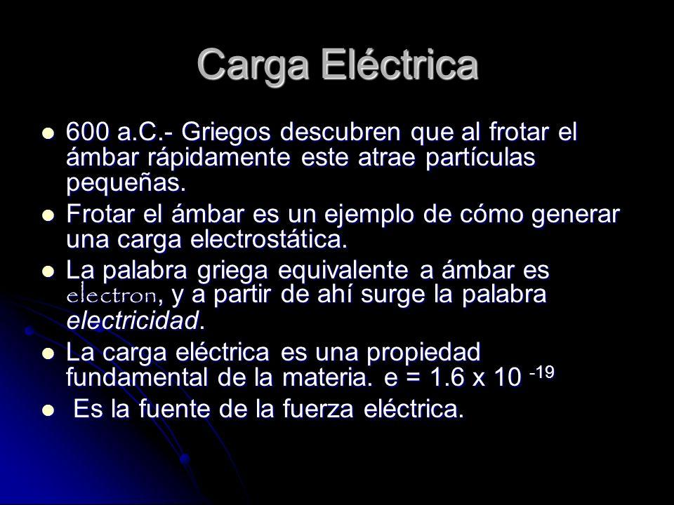 Carga Eléctrica 600 a.C.- Griegos descubren que al frotar el ámbar rápidamente este atrae partículas pequeñas. 600 a.C.- Griegos descubren que al frot