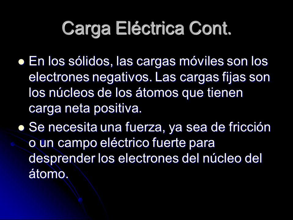Carga Eléctrica Cont. En los sólidos, las cargas móviles son los electrones negativos. Las cargas fijas son los núcleos de los átomos que tienen carga