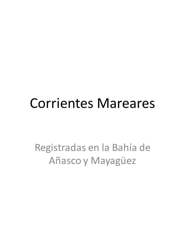 Corrientes Mareares Registradas en la Bahía de Añasco y Mayagüez