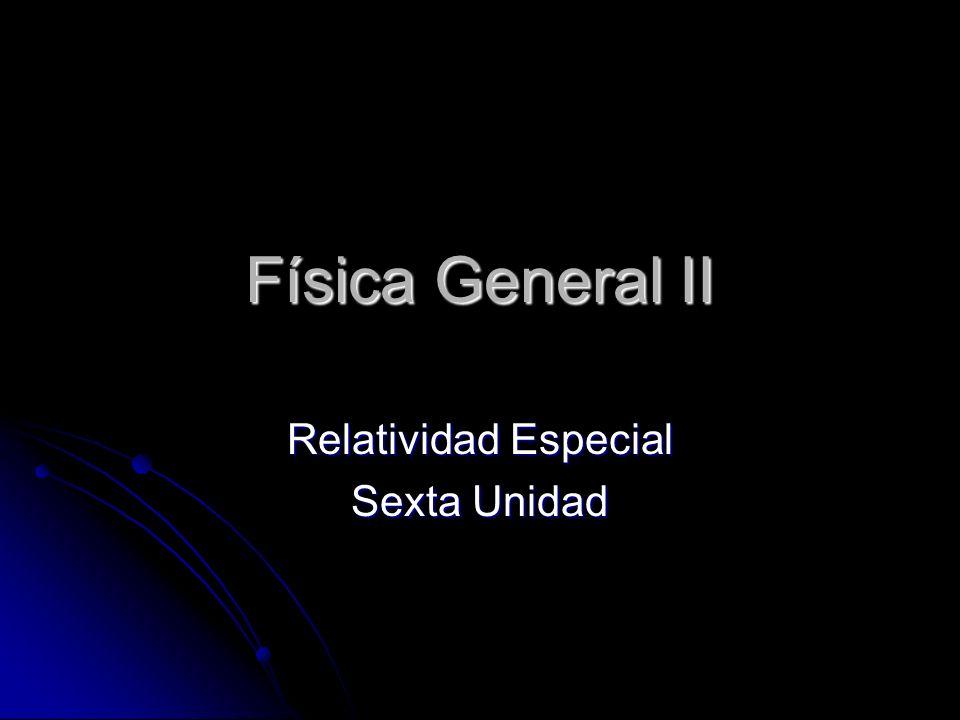 Física General II Relatividad Especial Sexta Unidad