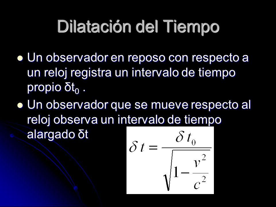 Dilatación del Tiempo Un observador en reposo con respecto a un reloj registra un intervalo de tiempo propio δt 0. Un observador en reposo con respect