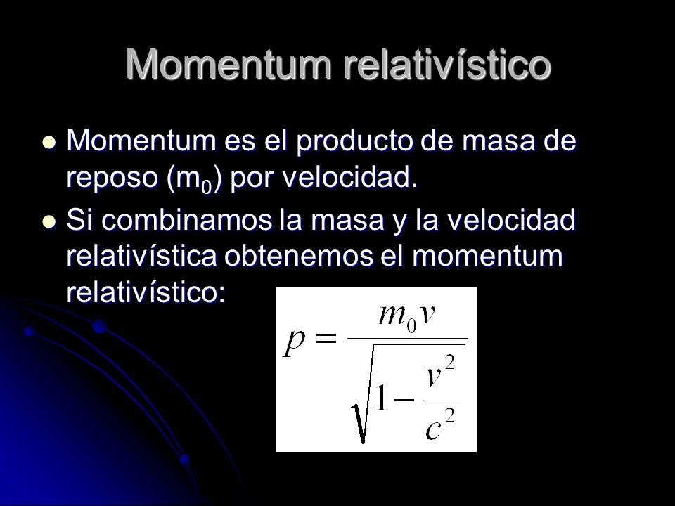 Momentum relativístico Momentum es el producto de masa de reposo (m 0 ) por velocidad. Momentum es el producto de masa de reposo (m 0 ) por velocidad.