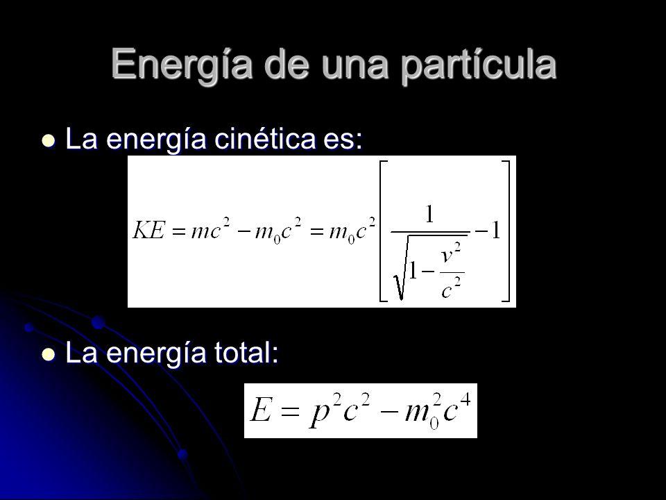 Energía de una partícula La energía cinética es: La energía cinética es: La energía total: La energía total: