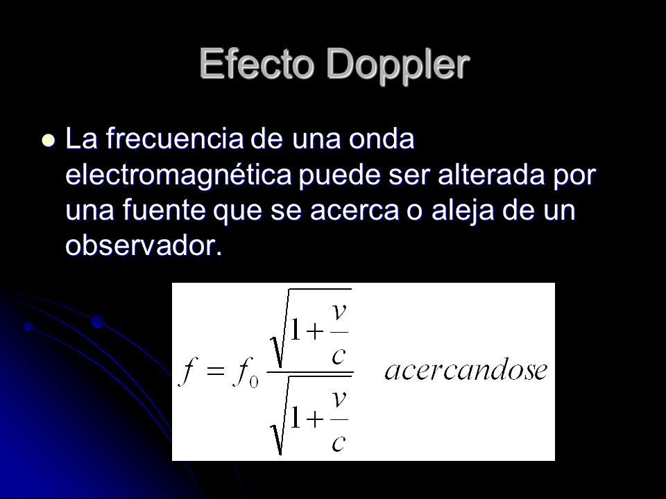 Efecto Doppler La frecuencia de una onda electromagnética puede ser alterada por una fuente que se acerca o aleja de un observador. La frecuencia de u