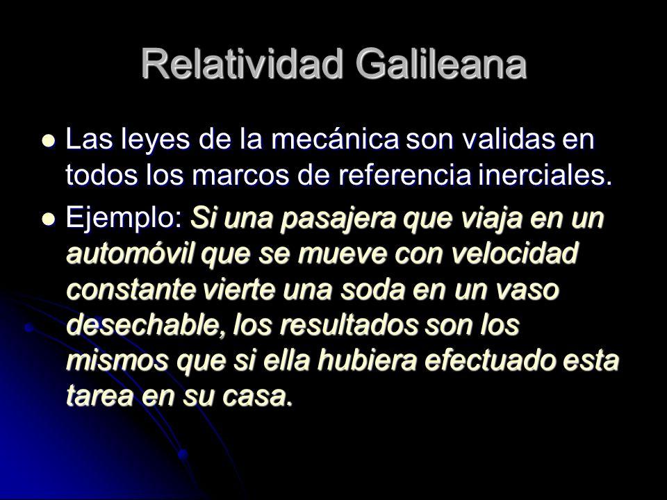 Relatividad Galileana Las leyes de la mecánica son validas en todos los marcos de referencia inerciales. Las leyes de la mecánica son validas en todos