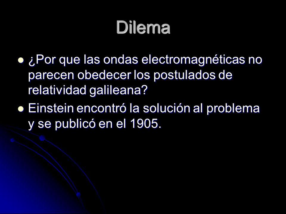 Dilema ¿Por que las ondas electromagnéticas no parecen obedecer los postulados de relatividad galileana? ¿Por que las ondas electromagnéticas no parec