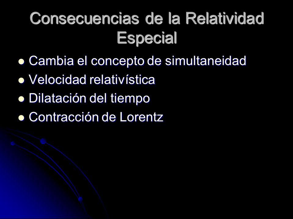 Consecuencias de la Relatividad Especial Cambia el concepto de simultaneidad Cambia el concepto de simultaneidad Velocidad relativística Velocidad rel