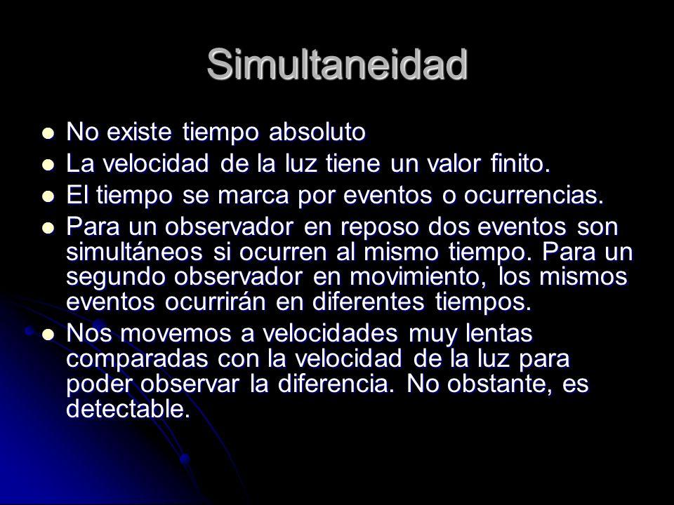 Simultaneidad No existe tiempo absoluto No existe tiempo absoluto La velocidad de la luz tiene un valor finito. La velocidad de la luz tiene un valor
