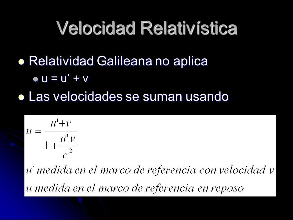 Velocidad Relativística Relatividad Galileana no aplica Relatividad Galileana no aplica u = u + v u = u + v Las velocidades se suman usando Las veloci