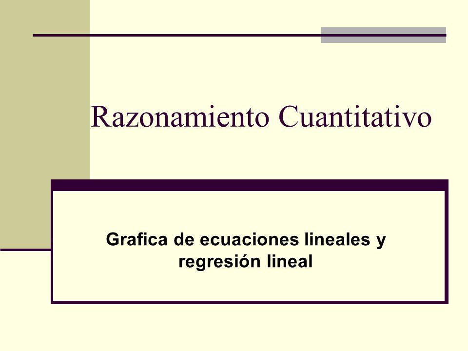 Razonamiento Cuantitativo Grafica de ecuaciones lineales y regresión lineal