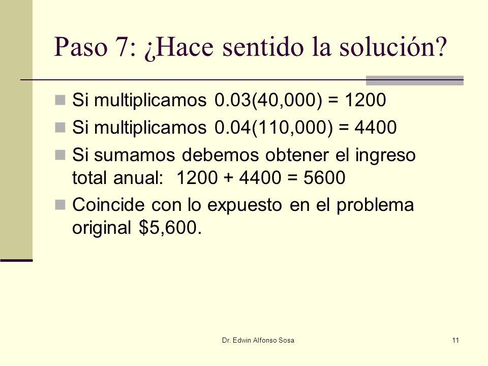 Dr. Edwin Alfonso Sosa11 Paso 7: ¿Hace sentido la solución? Si multiplicamos 0.03(40,000) = 1200 Si multiplicamos 0.04(110,000) = 4400 Si sumamos debe