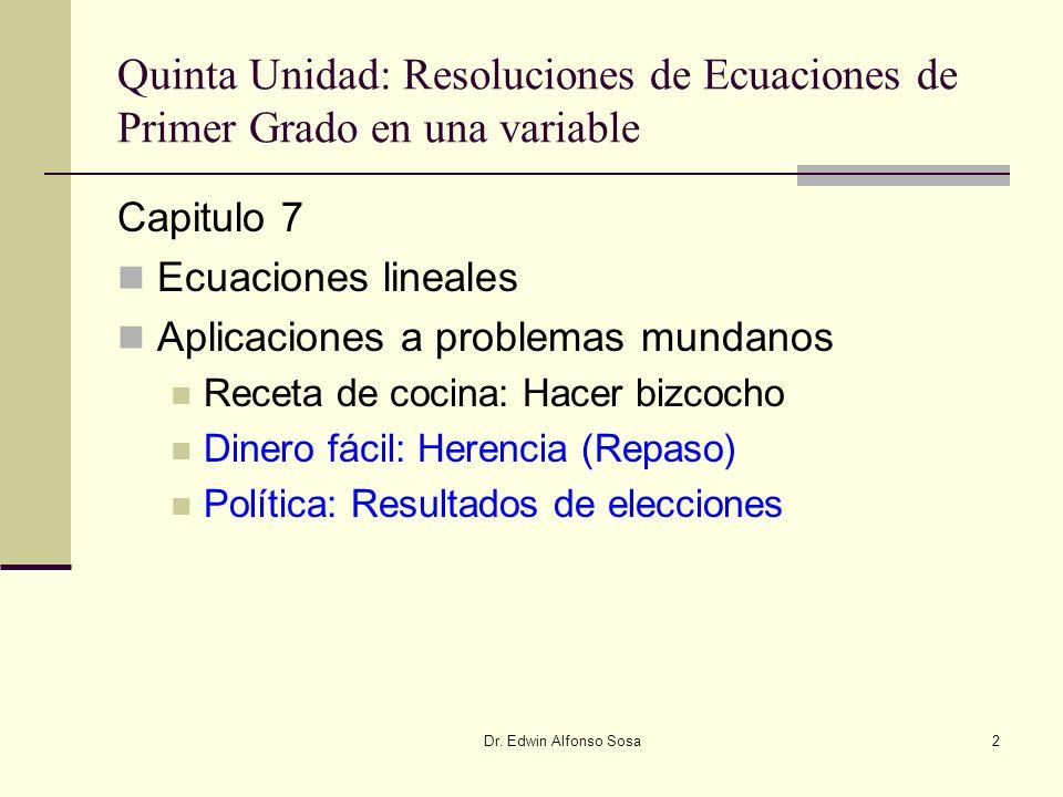 Dr. Edwin Alfonso Sosa2 Quinta Unidad: Resoluciones de Ecuaciones de Primer Grado en una variable Capitulo 7 Ecuaciones lineales Aplicaciones a proble
