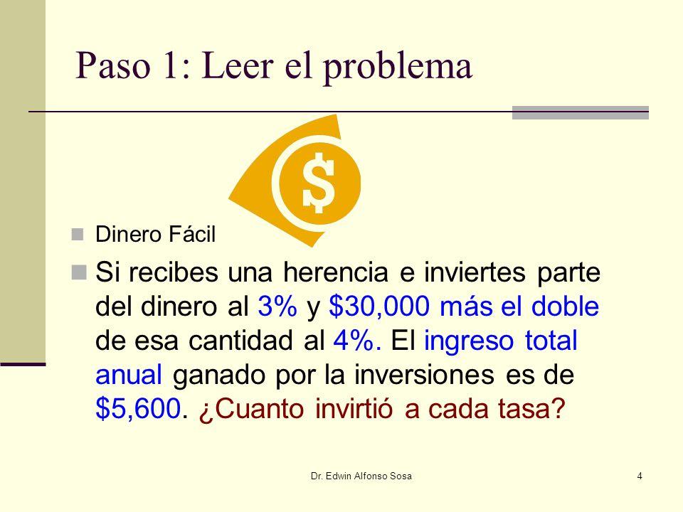 Dr. Edwin Alfonso Sosa4 Paso 1: Leer el problema Dinero Fácil Si recibes una herencia e inviertes parte del dinero al 3% y $30,000 más el doble de esa
