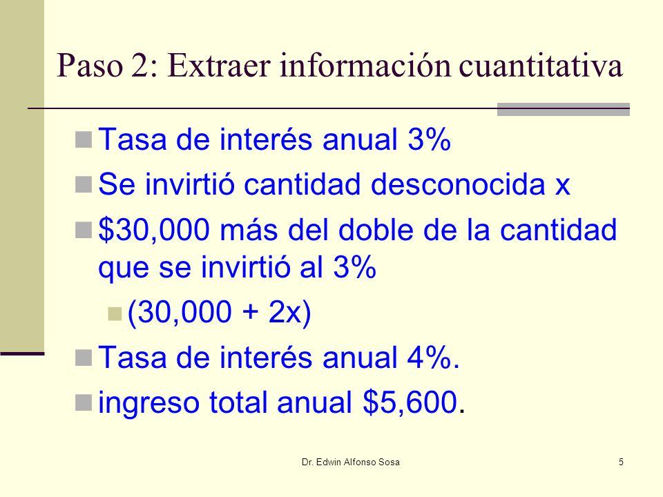Dr. Edwin Alfonso Sosa5 Paso 2: Extraer información cuantitativa Tasa de interés anual 3% Se invirtió cantidad desconocida x $30,000 más del doble de