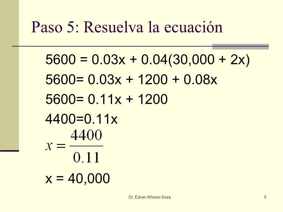 Dr. Edwin Alfonso Sosa9 Paso 5: Resuelva la ecuación 5600 = 0.03x + 0.04(30,000 + 2x) 5600= 0.03x + 1200 + 0.08x 5600= 0.11x + 1200 4400=0.11x x = 40,